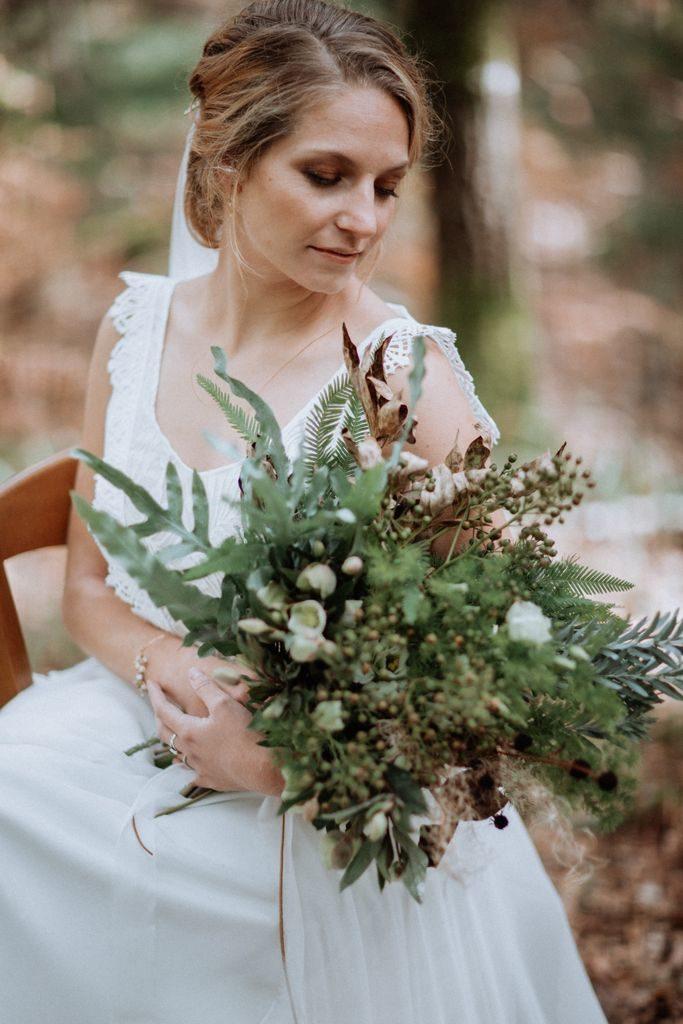 bouquet mariee naturel sauvage organique vegetal feuillage