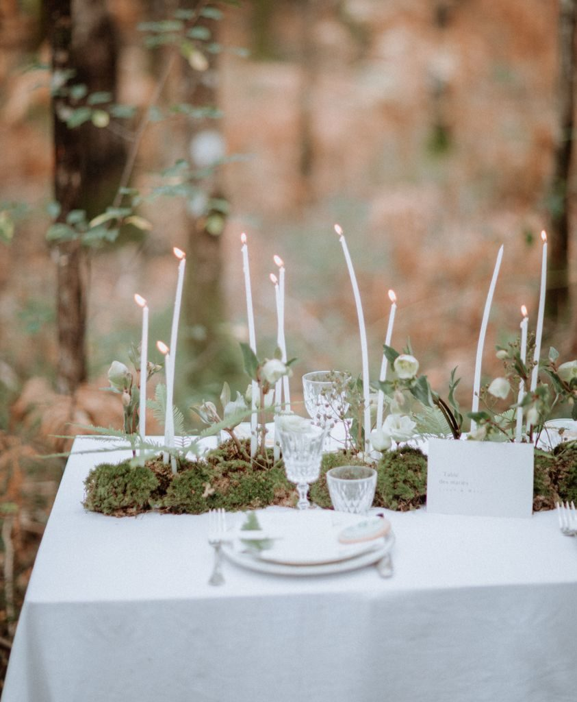 centre table feuillage mousse foret végétal bougies