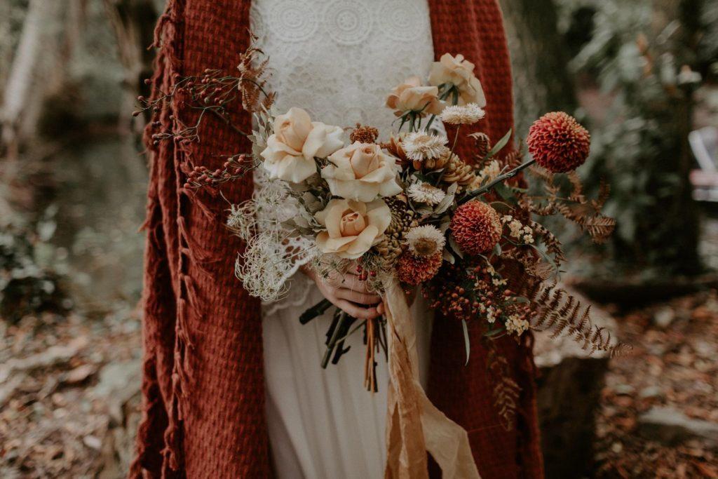 bouquet mariee couronne naturel sauvage automnal brique terracotta moutarde