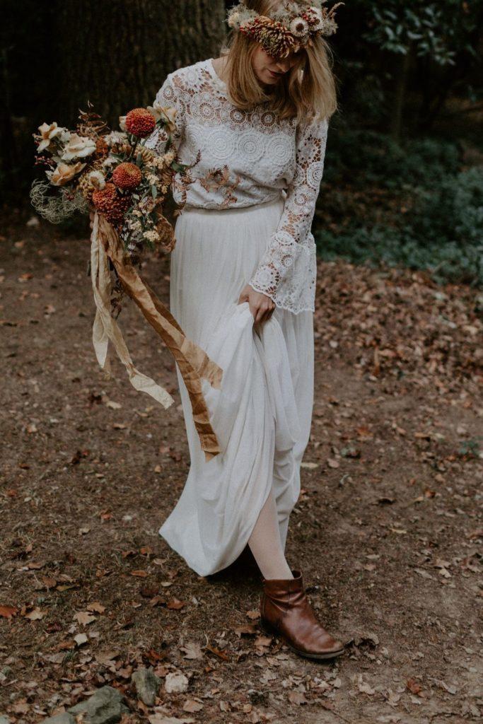 bouquet mariee folk automnal rouille terracotta moutarde