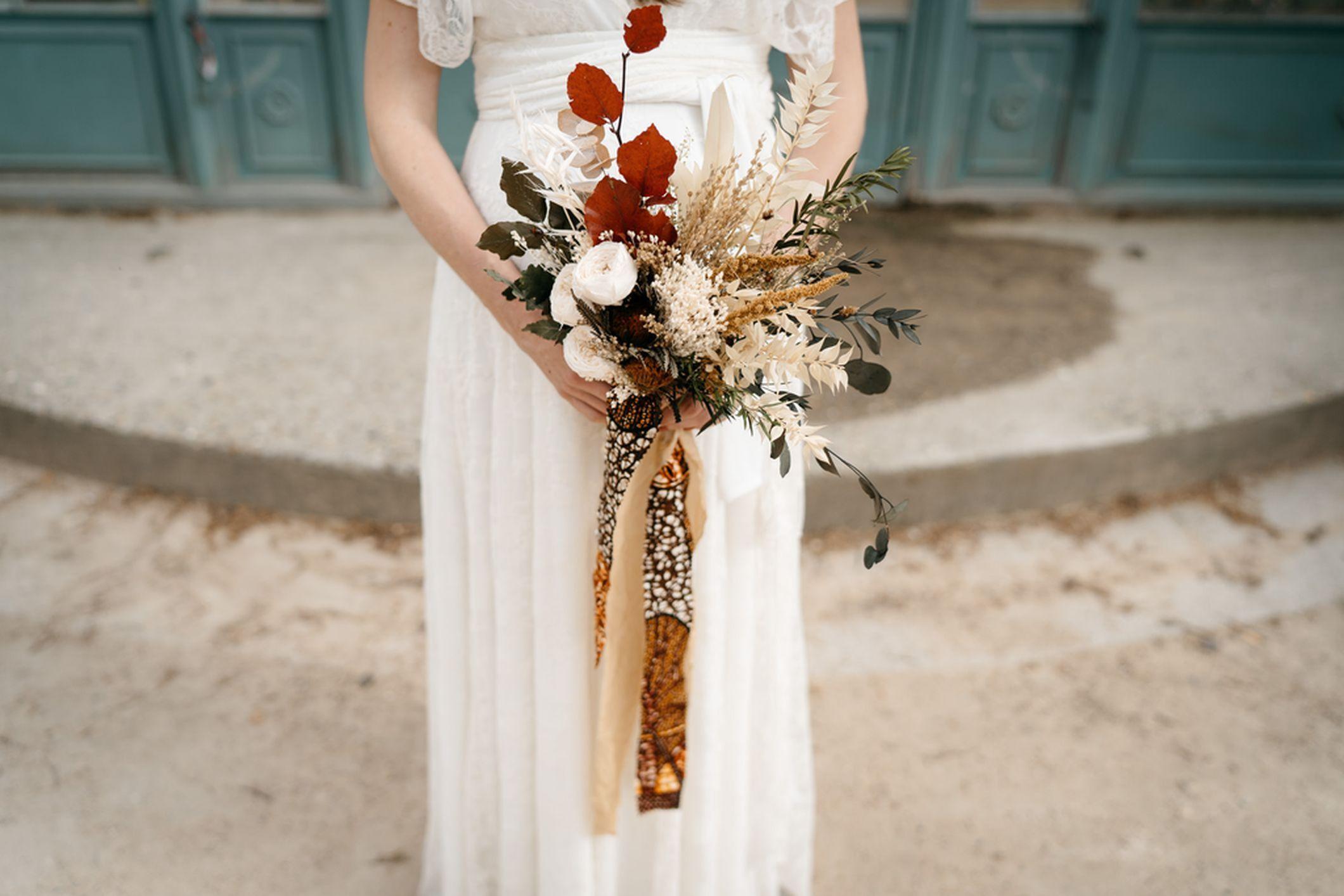 bouquet mariée fleurs séchées stabilisées