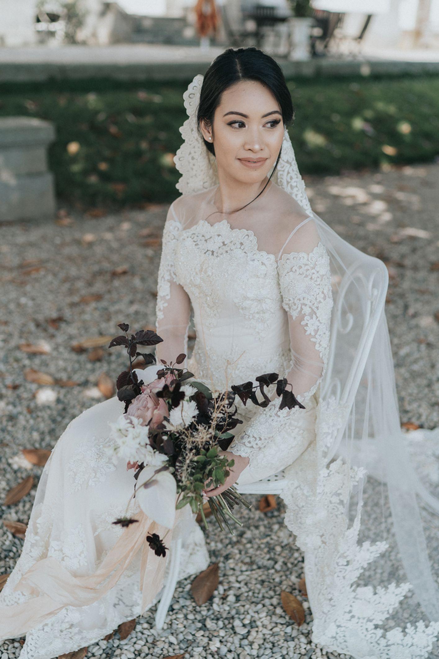 mariée bouquet sauvage orchidée rose