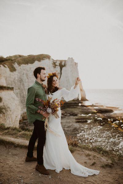 elopement mariage fleurs sechees etretat Gabriel conover