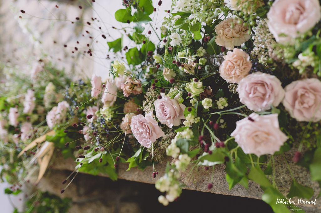 décor mariage cheminée fleur