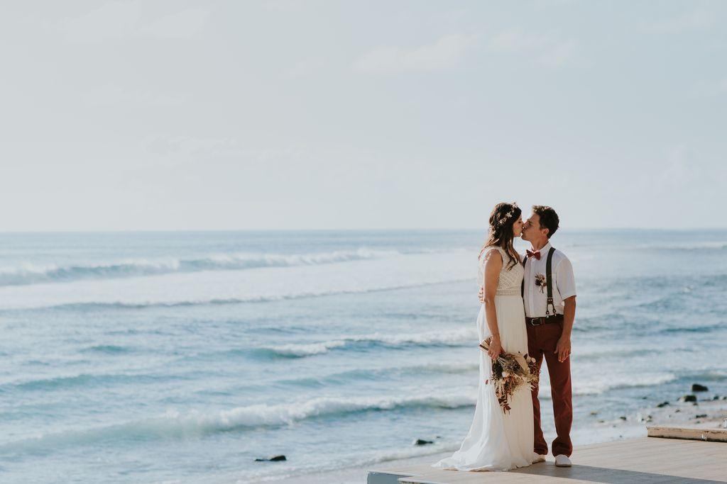 mariage plage fleurs sechees
