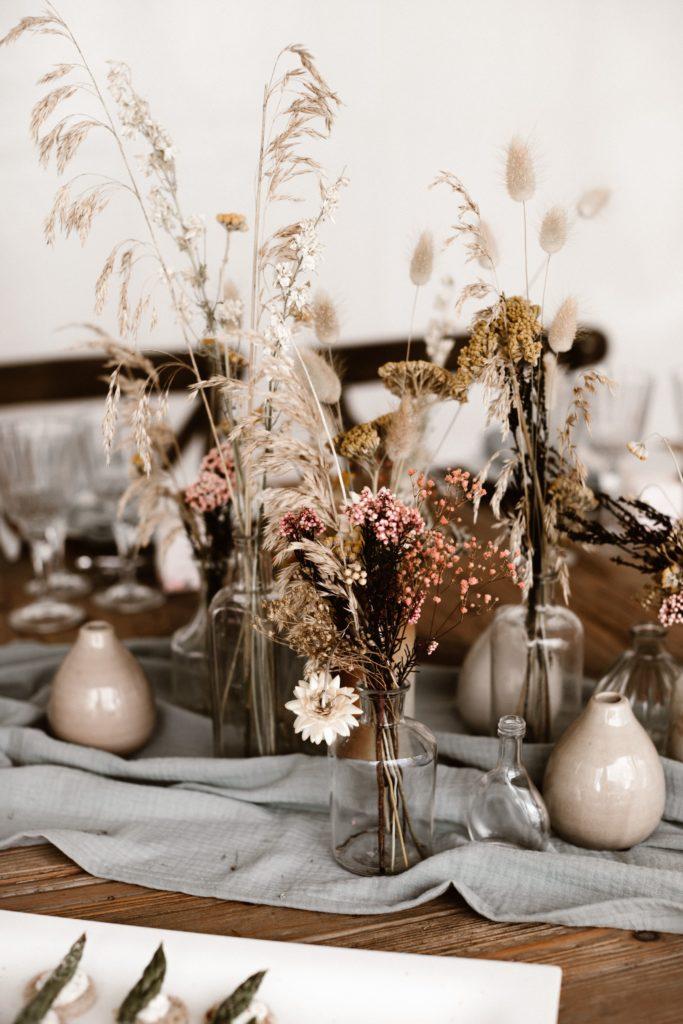 centre de table mariage fleurs sechees