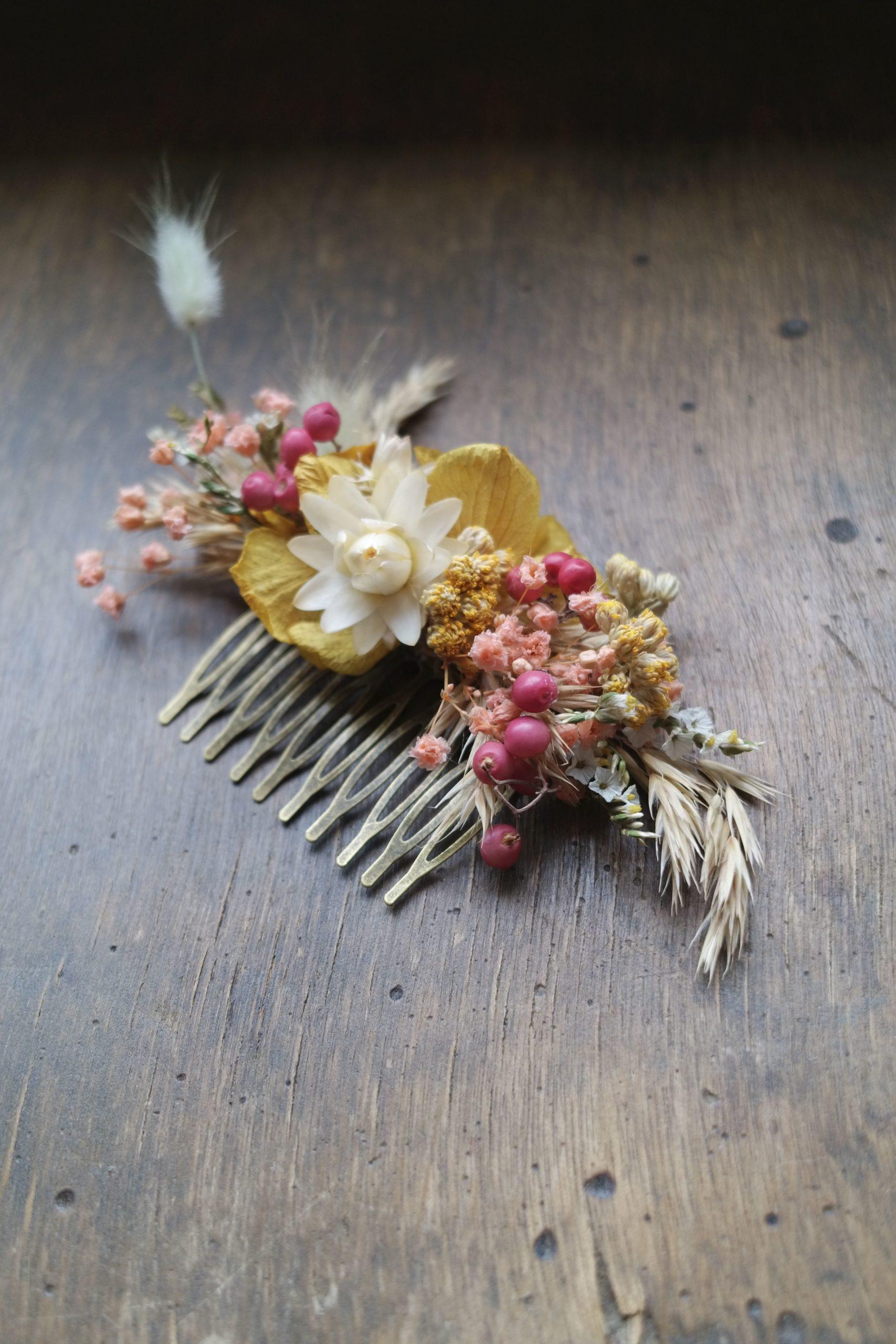 peigne fleurs sechees mariage