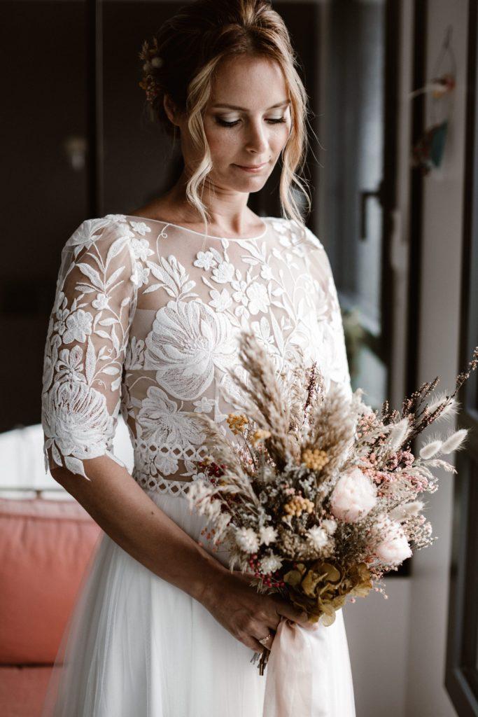 bouquet mariee mariage fleurs sechees