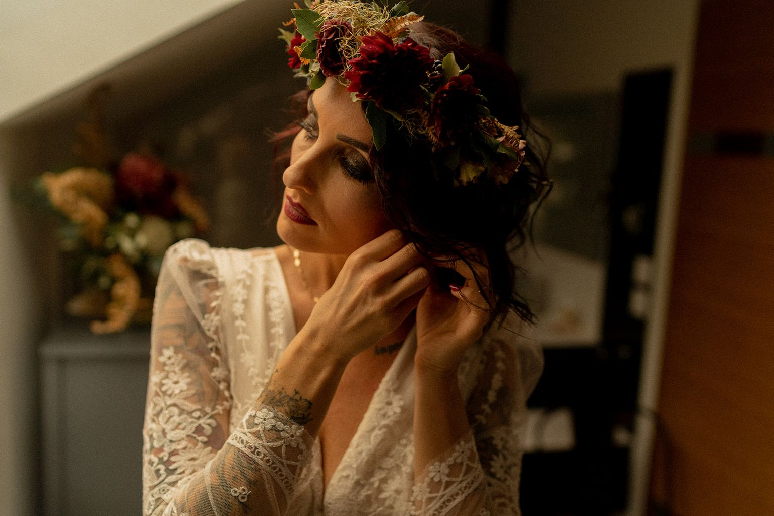 mariage elopement foret automne