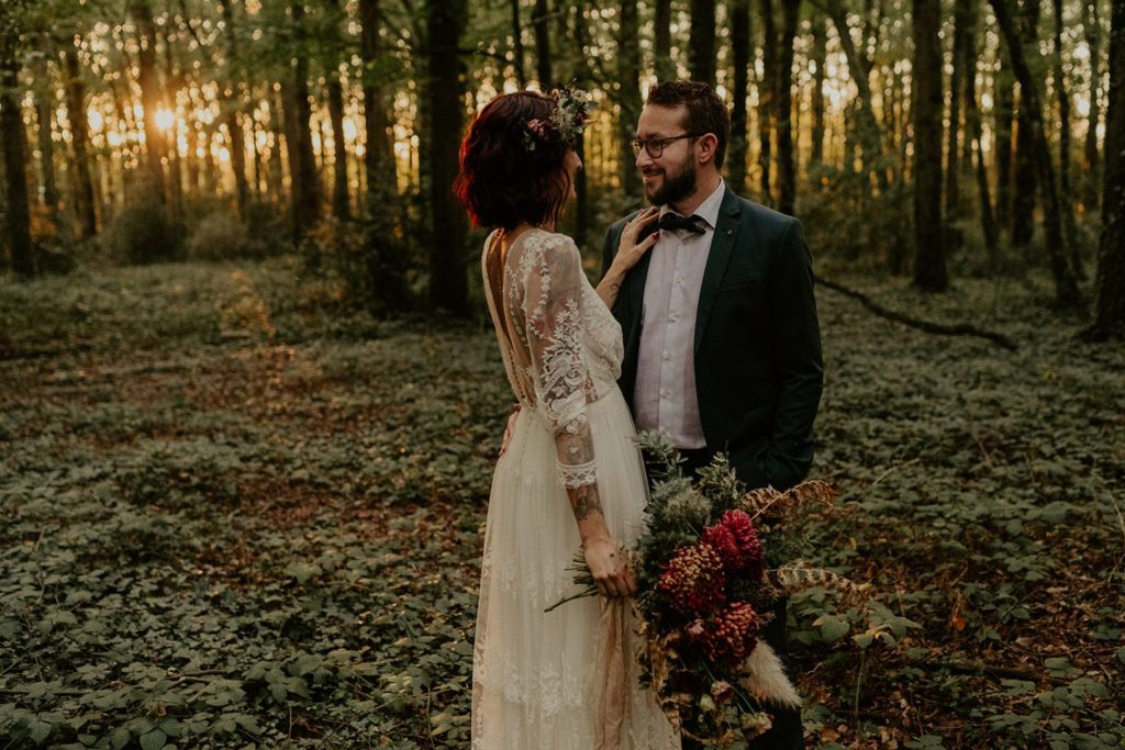 mariage elopement foret automne
